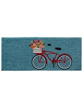 Bike Ride Blue Rug 24x60
