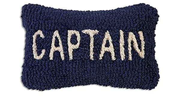 Captain Blue Velveteen Hooked Pillow 8x12