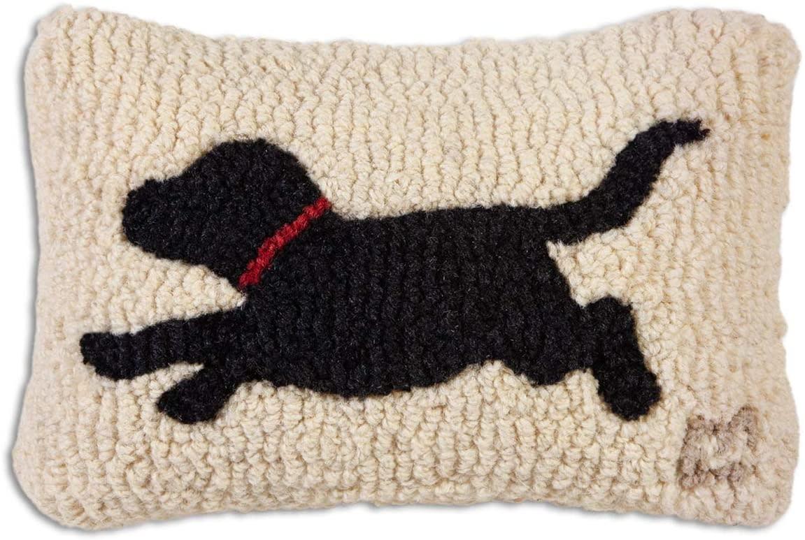 Running Black Dog 8x12 Hooked Pillow