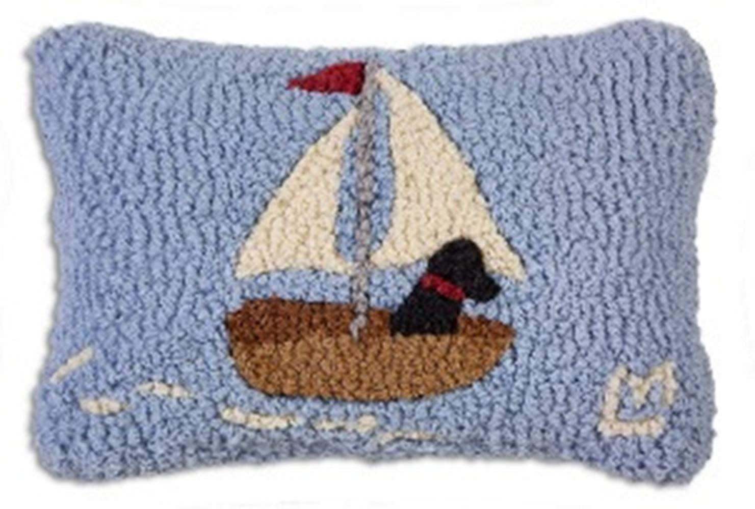 Skiff Sailing Lab 8x12 Hooked Pillow