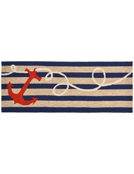 Anchor Navy Stripes Rug 24x60