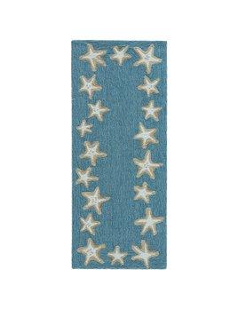 Starfish Border Aqua Rug 24x60