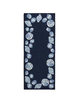 Seashell Border Navy Rug 24x60