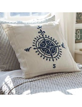 Compass Indigo Linen 21x21 Pillow