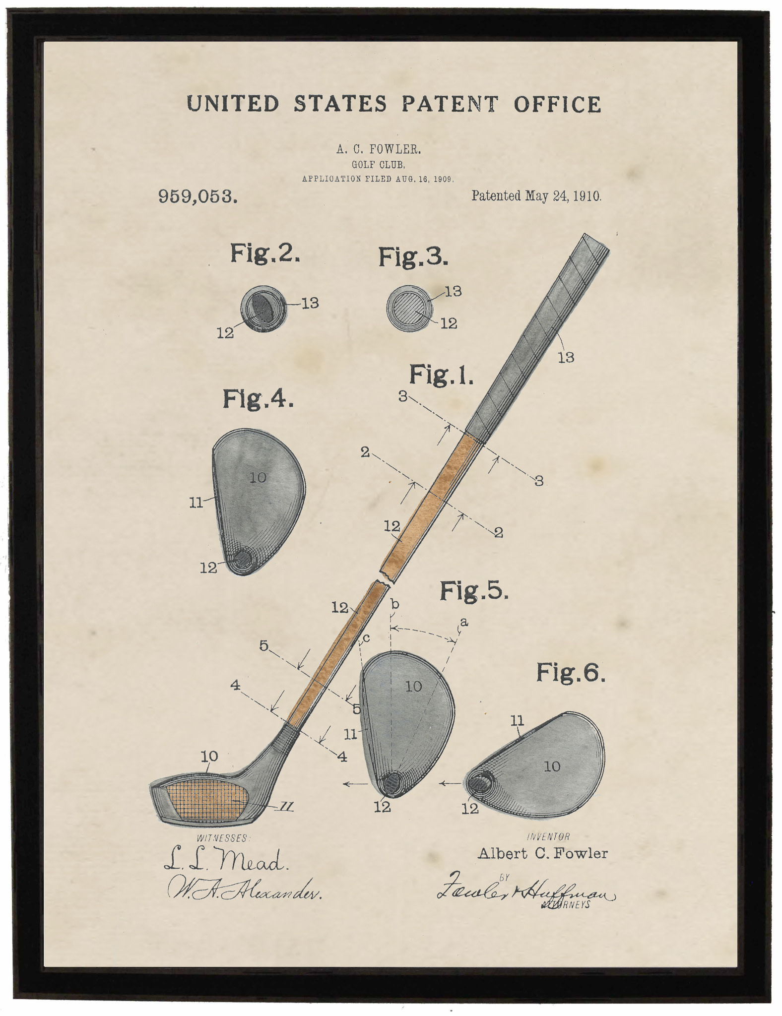 Watercolor Golf Club Patent 22x28 with Black Frame