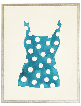 Teal and White Polka Dots Bathing Suit One Piece Distressed white shadow box 22x28