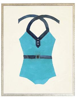 Teal with Navy Belt Bathing Suit One Piece distressed white shadow box 22x28