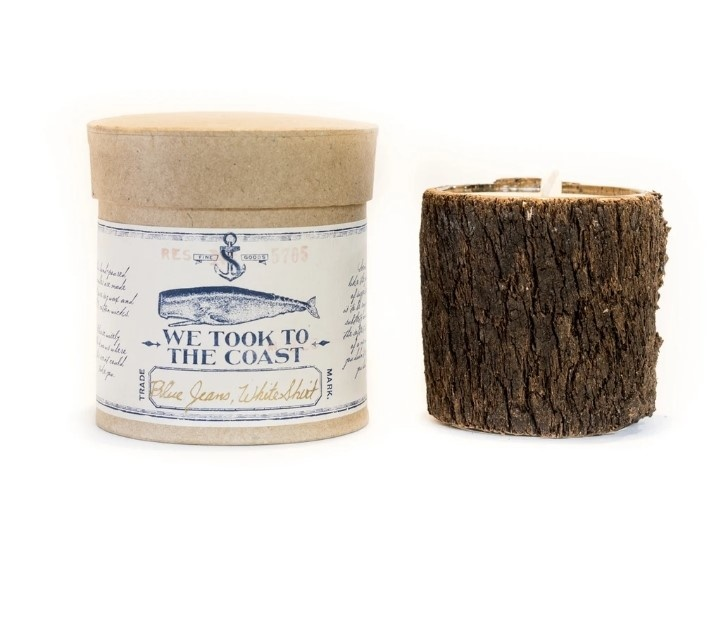 Blue Jeans White Shirt Large Bark Candle
