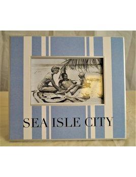 Sea Isle City Rubgy Stripe Denim Charcoal 4x6 Frame