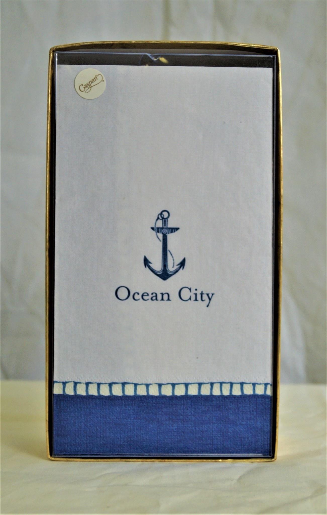 Boxed Guest Napkin Ocean City Anchor Navy