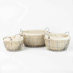 Round Grey Willow Baskets with Cotton Lining Small