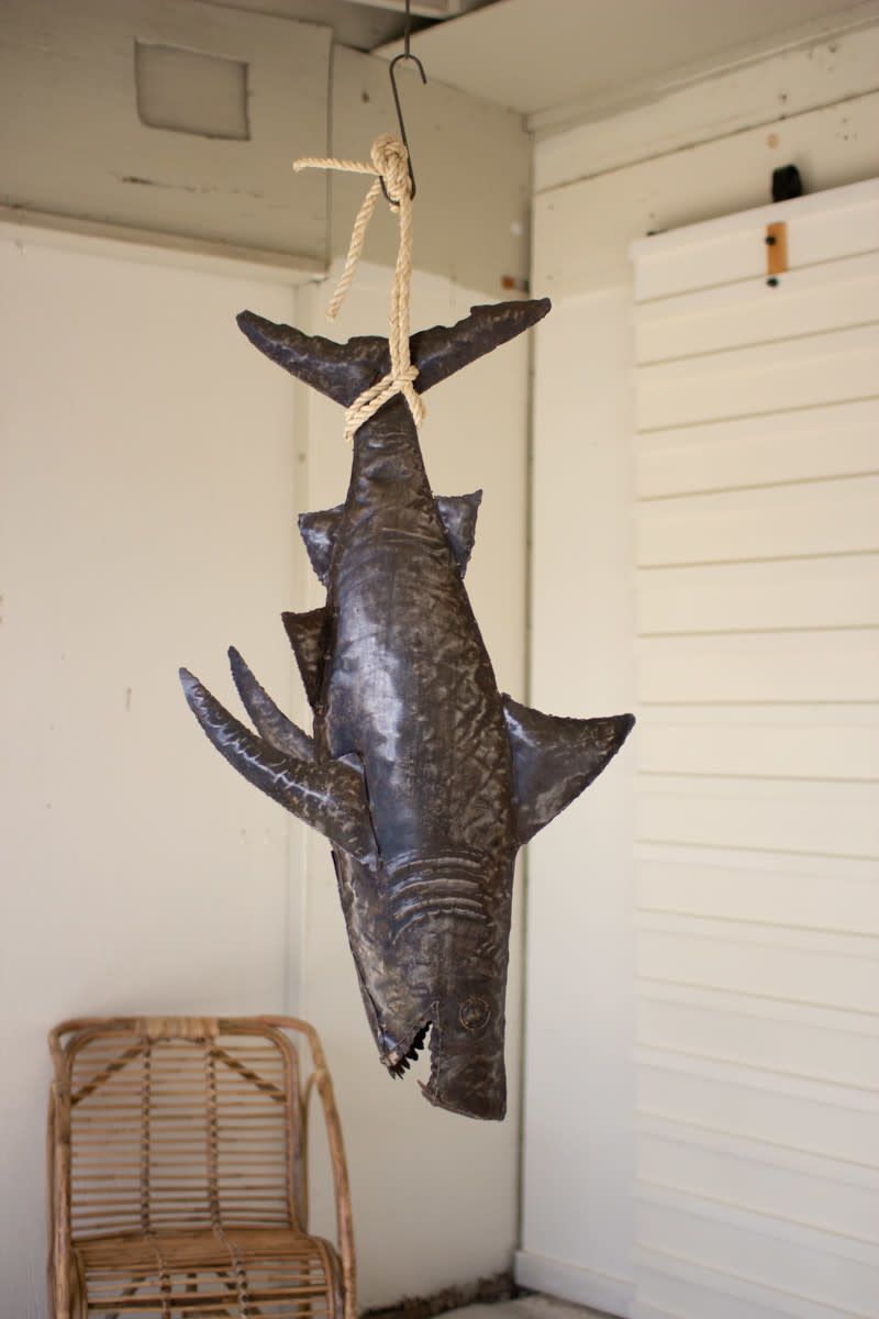 Hanging Rustic Shark With Rope