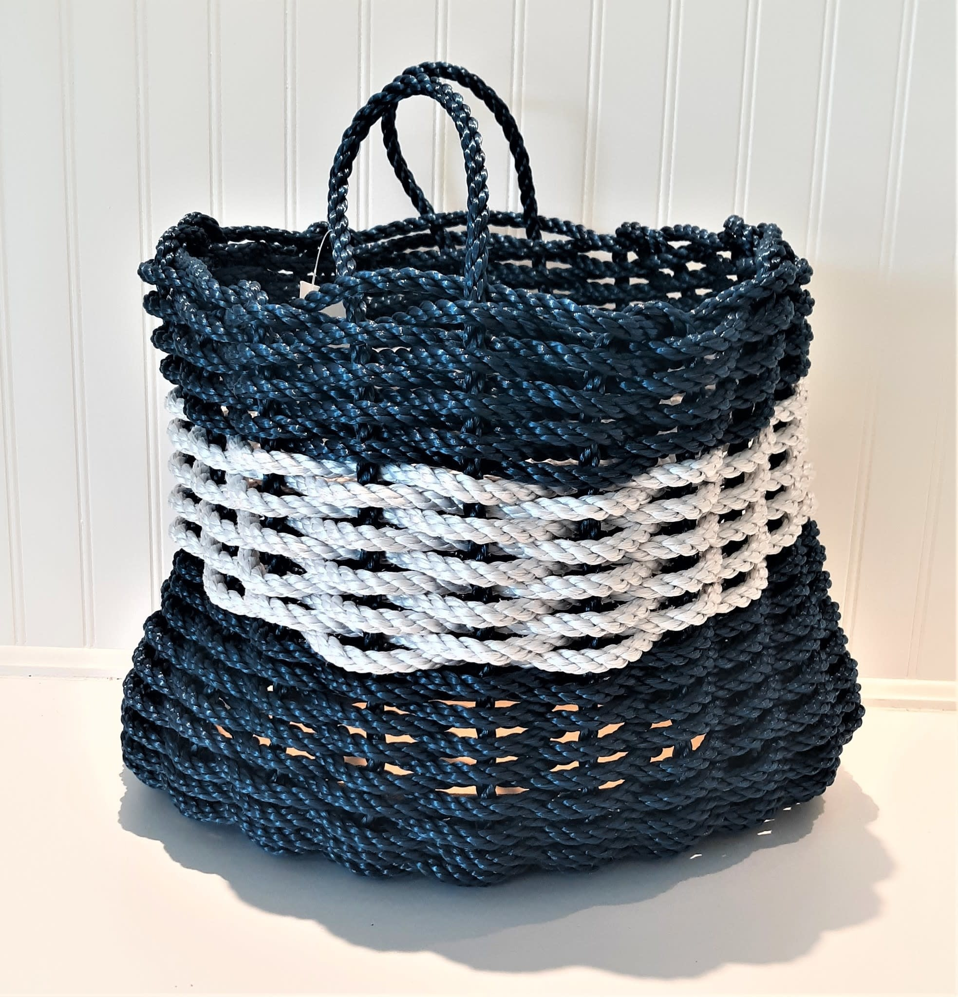 Tall Navy Fog  Basket 13x16