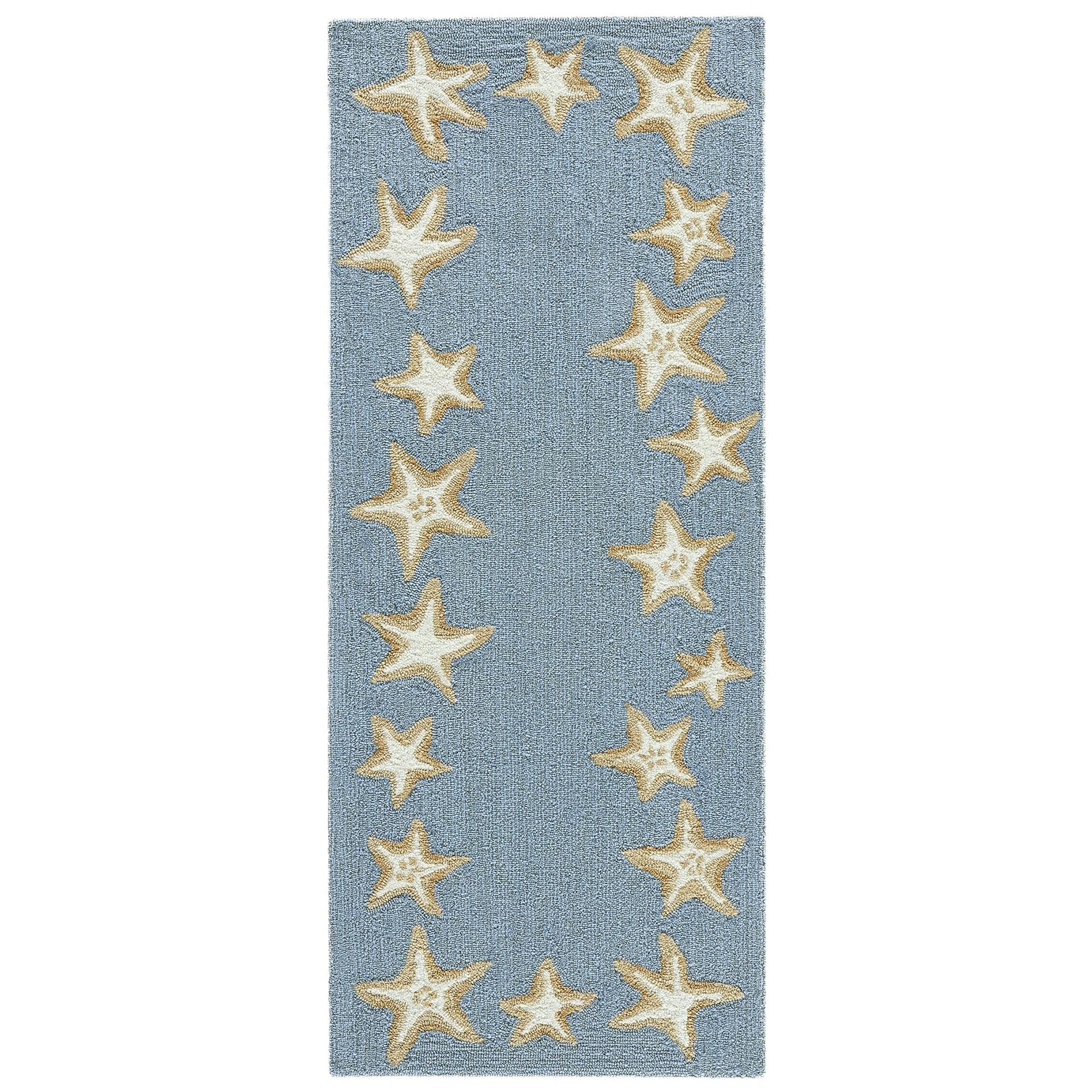 Starfish Border Bluewater Rug 24x60
