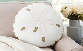 Sand Dollar Pillow Sunbrella Shaped White/Beige