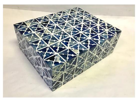 Blue and White Box Pattern Bone Box Large