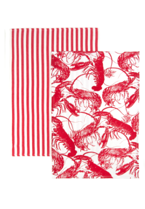 Red Lobster Overall Kitchen Towels s/2