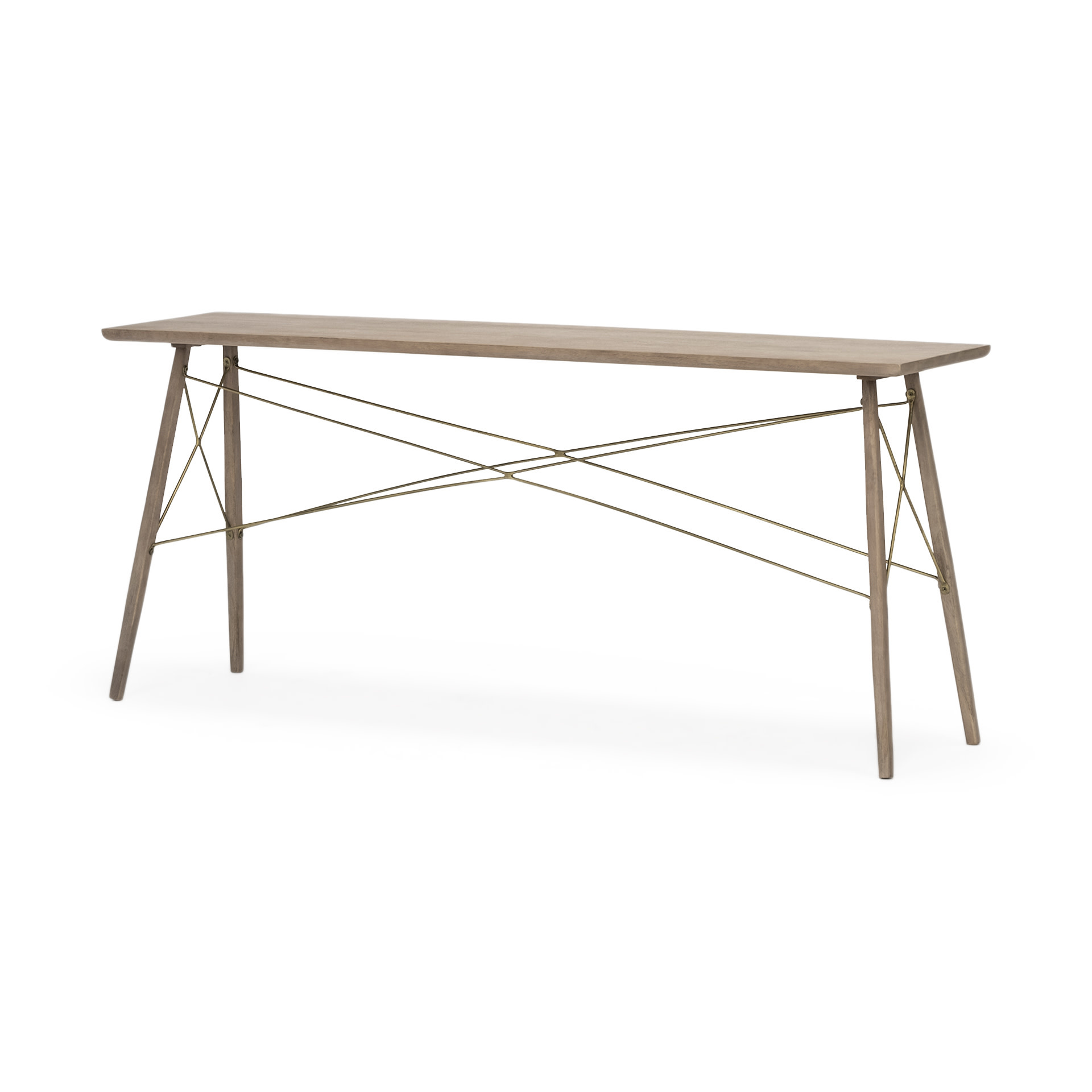 Kirby I Medium Brown Wooden Cross Braced Console Table