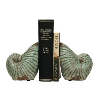 Terra-cotta Shell Vases/Bookends, Distressed Aqua