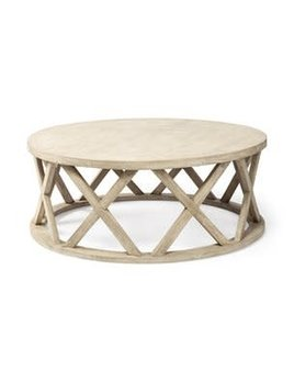 """Forsey (45"""") Round White Solid Wood Top and Base Coffee Table"""
