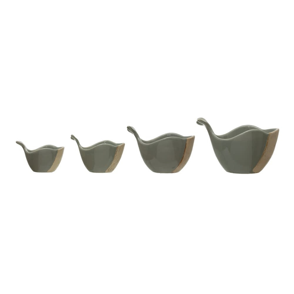 Stoneware Whale Measuring Cups, Grey, Set of 4