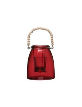 Glass Votive Holder w/ Wood Bead Handle, Red