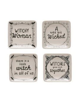 "4"" Square Stoneware Plate w/ Witch Saying"
