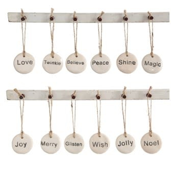 "1-3/4"" Round Stoneware Tag Ornament w/ Holiday Word, Ivory"
