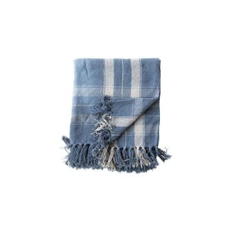 """60""""L x 50""""W Woven Recycled Cotton Blend Throw with Fringe, Blue Plaid"""