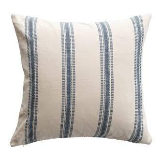 """24"""" Square Woven Cotton Pillow with Stripes, White & Blue"""