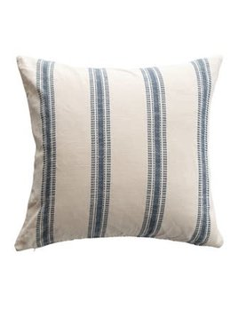 "24"" Square Woven Cotton Pillow with Stripes, White & Blue"