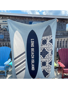 Surf Board Long Beach Island Marine background Blue Pond/Smoke/Text Milk