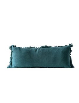 """36""""L x 14""""H Cotton Pillow w/ Fringe, Green"""