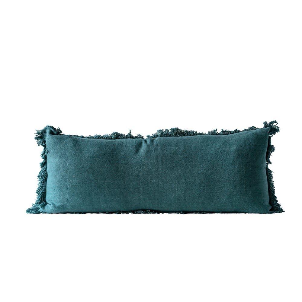 "36""L x 14""H Cotton Pillow w/ Fringe, Green"