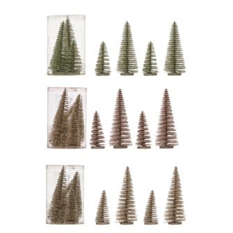 "4"" Round x 6""H Bottle Brush Trees w/ Glitter on Wood Bases, Boxed Set of 4, 3 Colors"