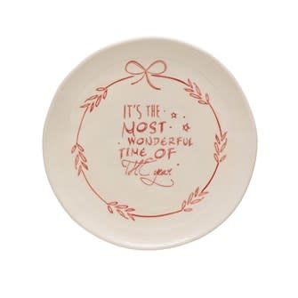 """8"""" Round Stoneware Plate Most Wonderful Time of the Year"""