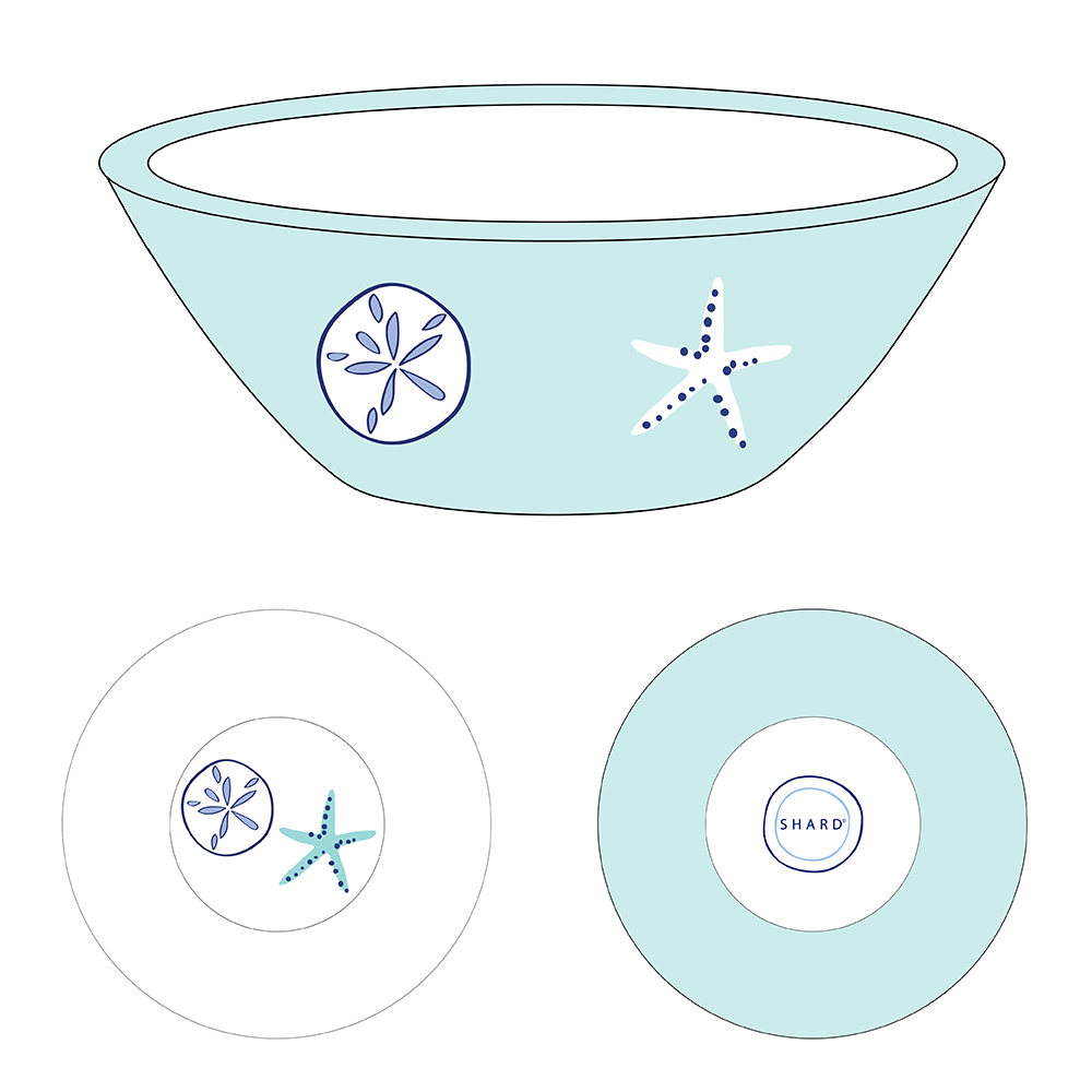 Tasting Bowl - Aqua Shells