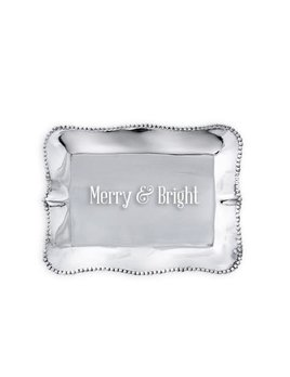 Pearl Rectangular Engraved Tray - Merry & Bright