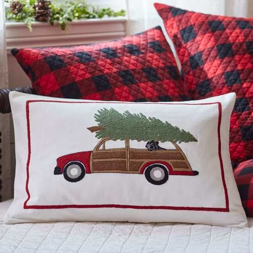 Christmas Woody Embroidered Pillow 16x24