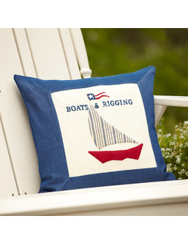 Denim Boats and Rigging Porch Pillow 21x21
