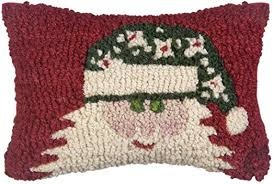 Green Hat Santa on Red 8x12 Pillow