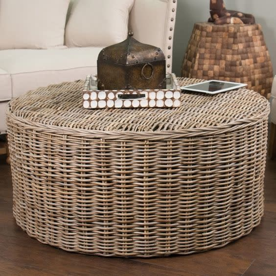 Seascape Driftwood Round Rattan Coffee Table