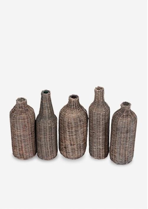 Sabrina Wicker Wrapped Glass Bottles Grey Wash