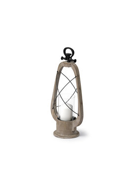 Zain I (Small) Brown Wooden Vintage Inspired Candle Holder Lantern