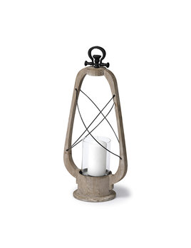 Zain II (Large) Brown Wooden Vintage Inspired Candle Holder Lantern