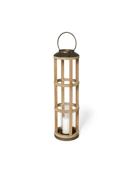 Andy I (Large) Natural Wood Cylindrical Lantern