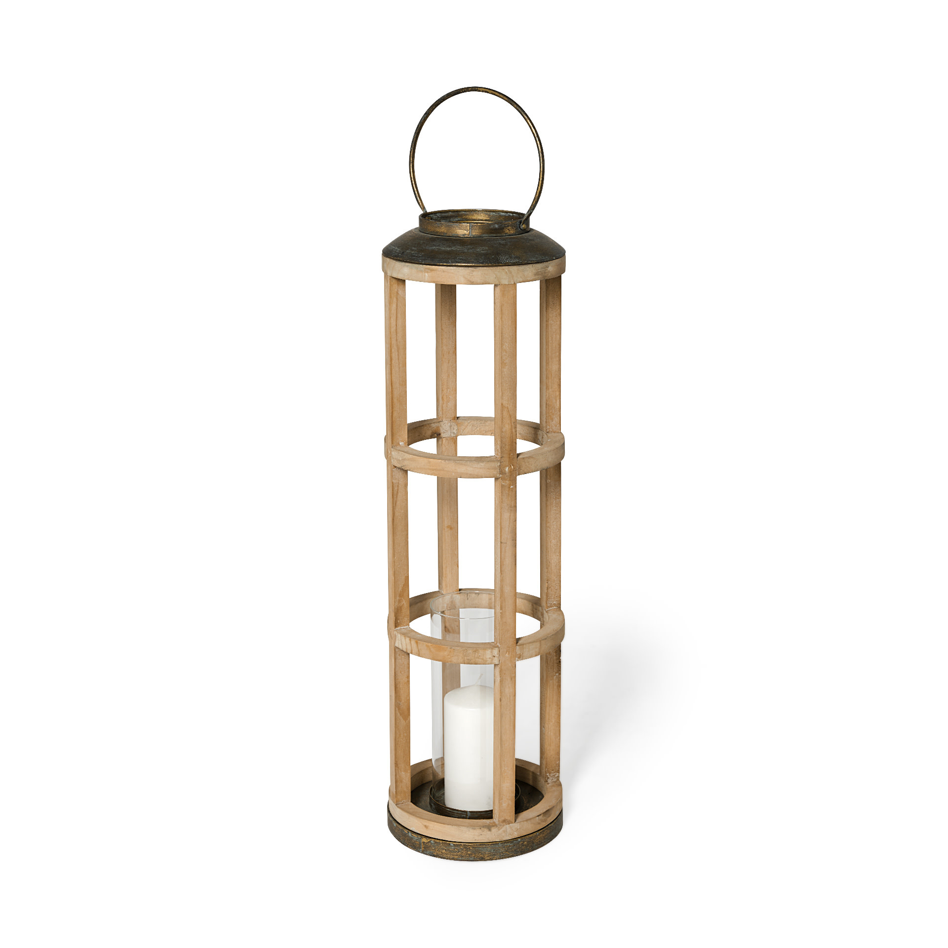 Andy I (Large) Natural Wood Cylindrical Lantern