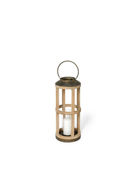 Andy II (Small) Natural Wood Cylindrical Lantern