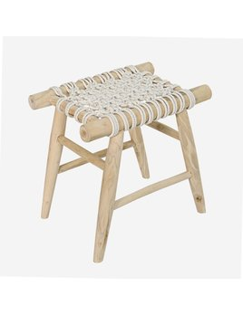 Jalin Wood Stool with Woven Seat