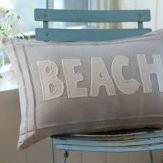 White Beach on Natural Linen Pillow 16x24